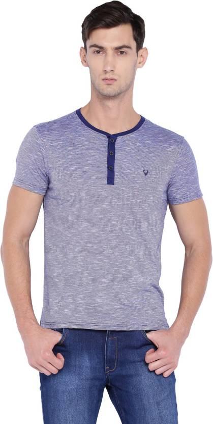 50d40d573d03e Allen Solly Solid Men Henley Purple T-Shirt