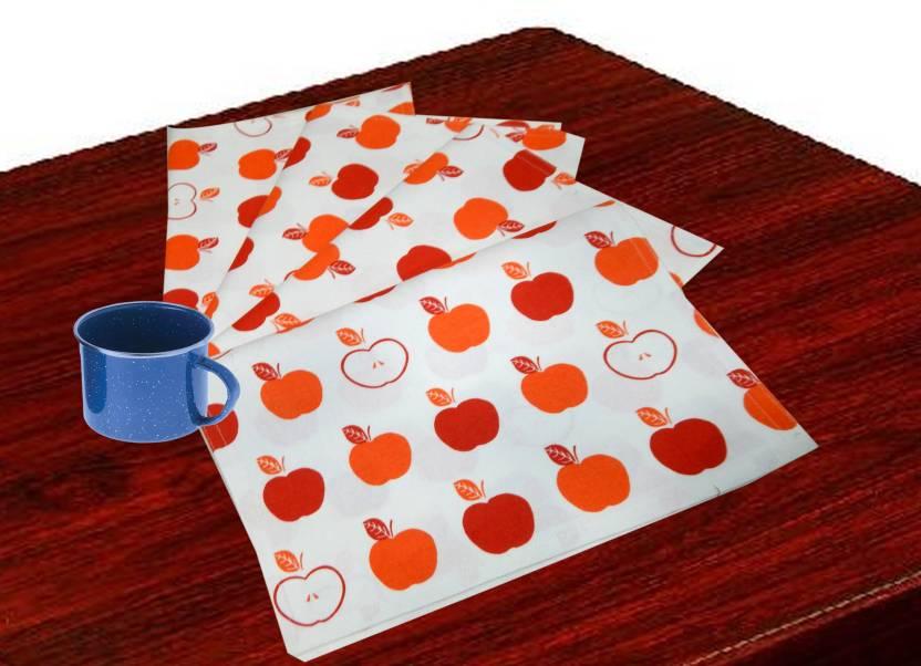 URBAN TRENDZ Rectangular Pack of 4 Table Placemat Orange, Cotton