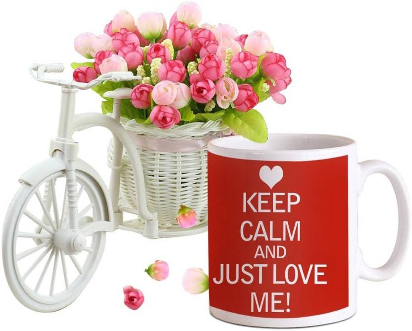 Tied Ribbons Valentine Love Gift For Girlfriend Wife Lover Her Coffee Mug With Cycle And Flower