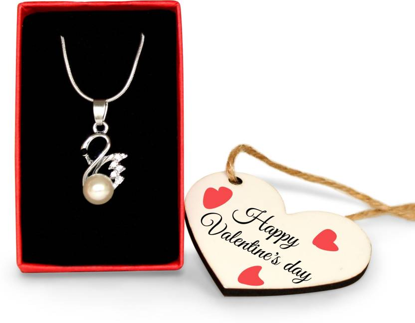 Tied Ribbons Pendant With Wooden Tag Valentines Gifts For Girlfriend