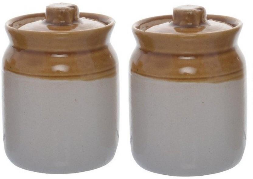 Caffeine Barni Container Ceramic Martban In Mustard Contemporary (Small  Size) (2 Pc)