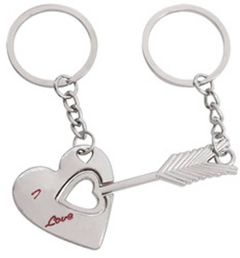 ACUTAS Lovers Silver Alloy Key Chains Love Keyrings Arrow Bow Chain