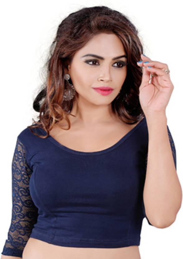 6a40777e1c7a42 SUVASANA Round Neck Women's Stitched Blouse - Buy darkblue SUVASANA Round  Neck Women's Stitched Blouse Online at Best Prices in India | Flipkart.com