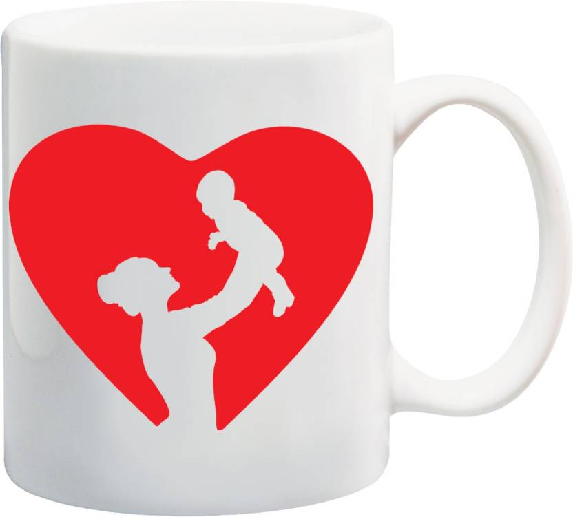 MEYOU Gift For Mother Son Daughter On Birthday Mothers Day Anniversary Childrens Mom In Heart IZ17JPMU 1134 Printed Ceramic Mug 325 Ml