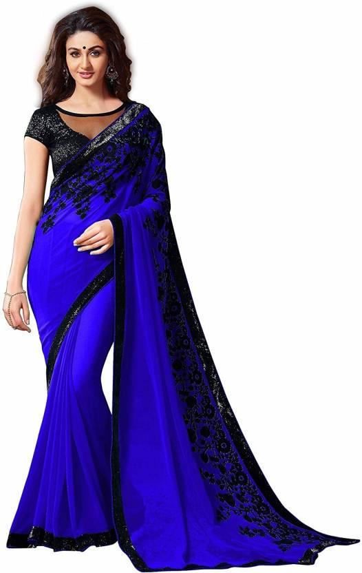 655d88573bd39d Buy C J 129 Embroidered Bollywood Georgette Blue, Black Sarees ...