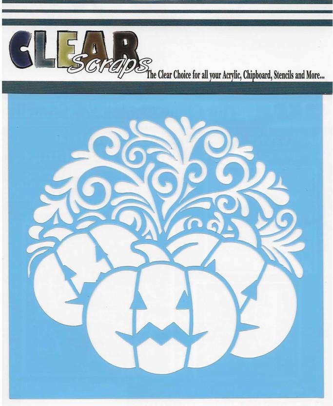 Clear Scraps Stencils 6 x 6 Pumpkin