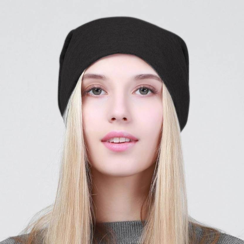 HOZIE Fashionable And Trendy Look Black Beanie Stretchable Cap - Buy ... aa1d998c078e