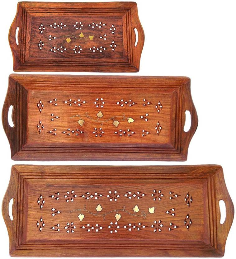 Jk Handicrafts Handmade Wooden Serving Coffee Tray Set Of 3 With
