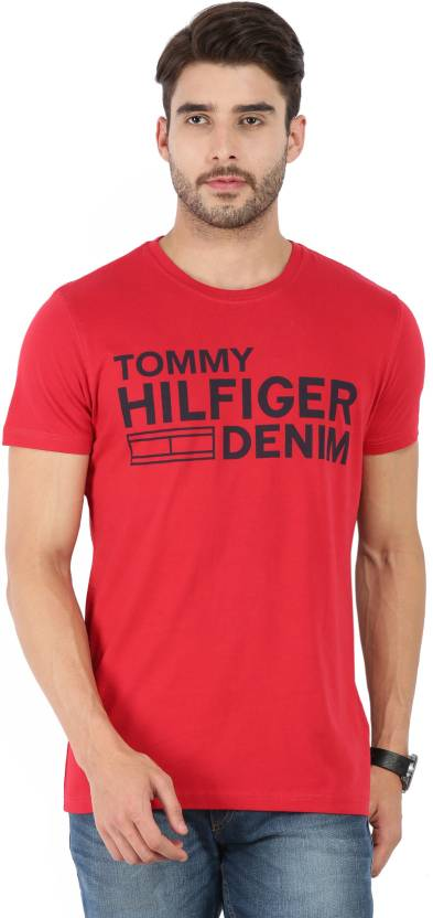 40656c2f42c351 Tommy Hilfiger Printed Men's Round Neck Red T-Shirt (Pack of 6800087117)