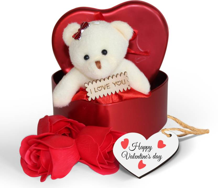 83728768 Tied Ribbons Heart shaped Box with Teddy and Roses and Wooden Tag  Valentine's Day Gifts for Lover Her Girlfriend Wife Soft Toy Gift Set