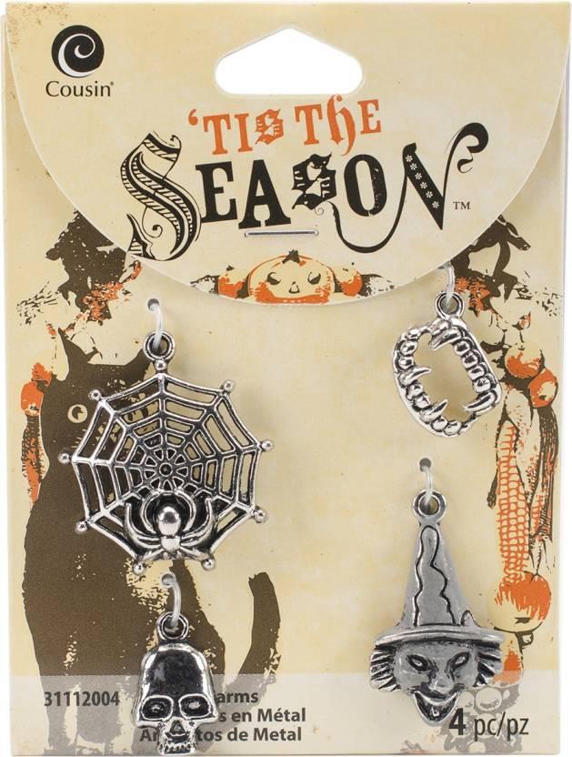 95eeba34e2 Cousin Tis The Season Charms- Silver Web, Teeth, Skull & Witch 4 Per ...