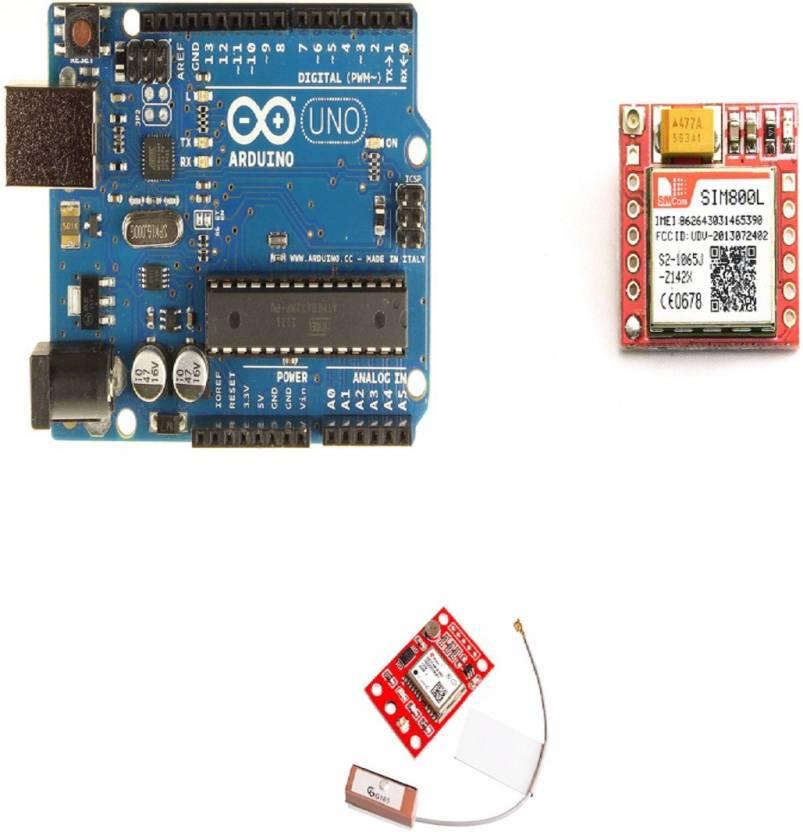 TechWiz Uno R3 + SIM800L GPRS GSM Module + GPS Module NEO-6M GY-NEO6MV2  Educational Electronic Hobby Kit