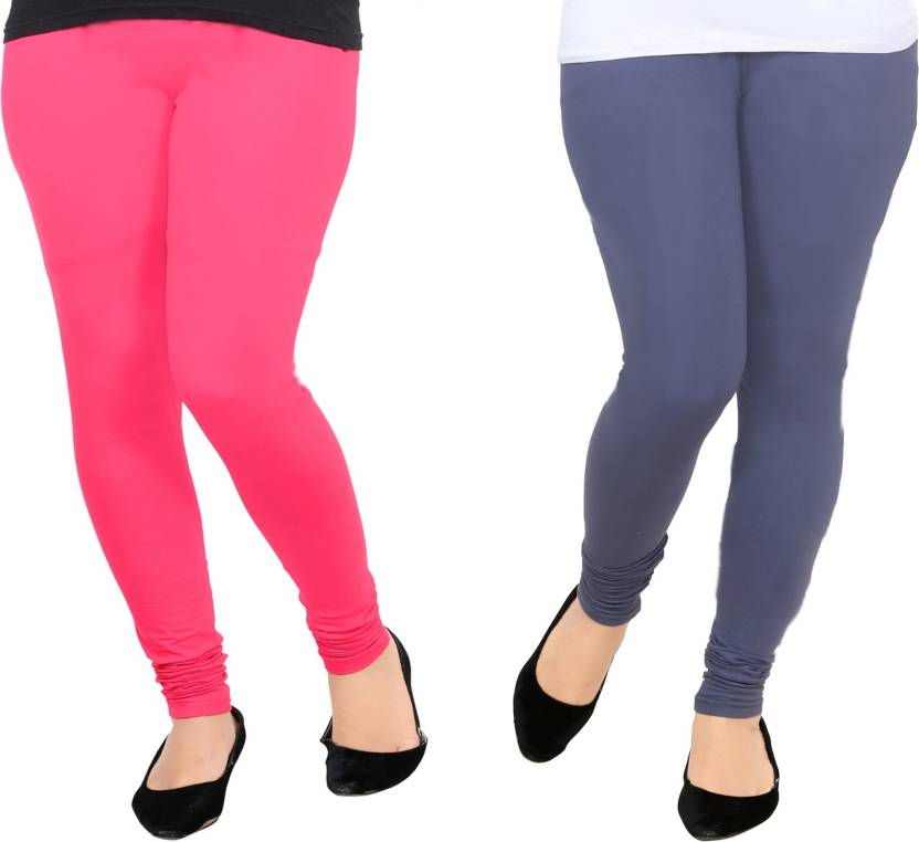 f96123126a AGSfashion Women's Lycra Cotton Leggings(Rani & Grey_Free Size)-PO2 Churidar  Leggings Churidar Legging (Multicolor, Solid)