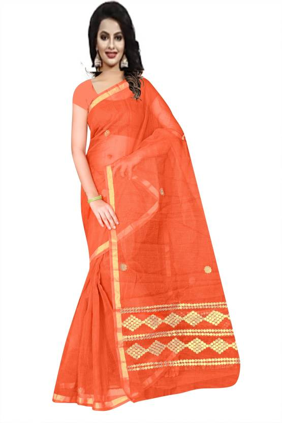 424062337e Stylish Sarees Self Design, Plain Kota Doria Cotton Linen Blend, Kota  Cotton Saree (Orange)