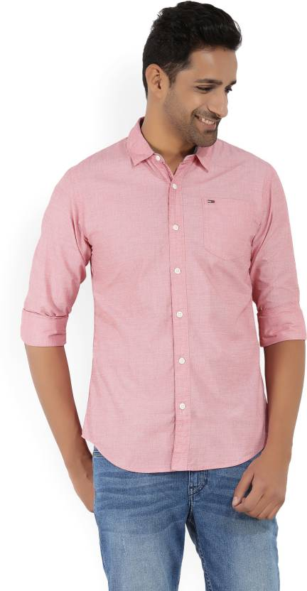24c72c5e3f Tommy Hilfiger Men Solid Casual Pink Shirt - Buy Red Tommy Hilfiger Men  Solid Casual Pink Shirt Online at Best Prices in India