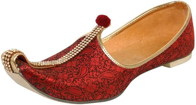 248093528663 Vision Art   Craft Men s Red Wedding   Sherwani Mojaris Jutis For Men (Red)