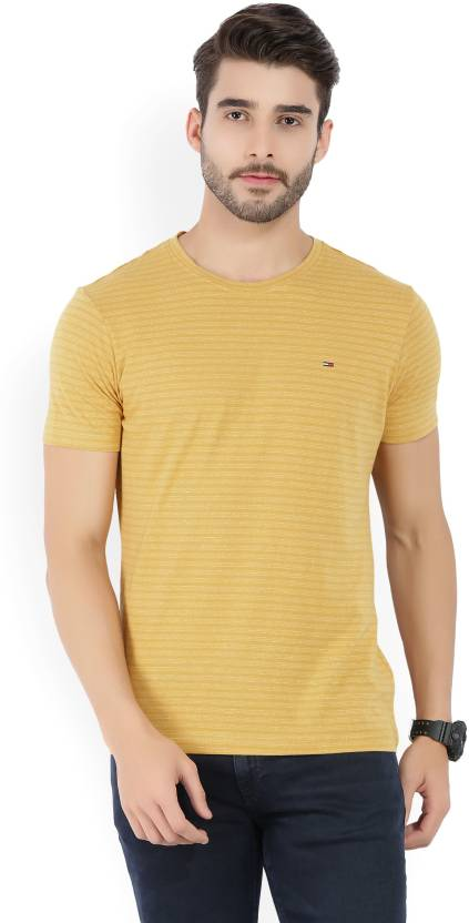 fd065120 Tommy Hilfiger Striped Men's Round Neck Yellow T-Shirt - Buy Gold Tommy  Hilfiger Striped Men's Round Neck Yellow T-Shirt Online at Best Prices in  India ...