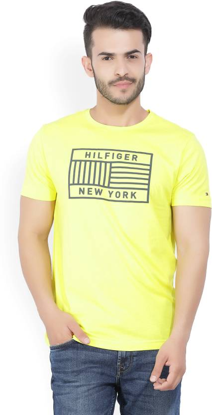 64f03d6cba Tommy Hilfiger Graphic Print Men Round Neck Yellow T-Shirt - Buy ...