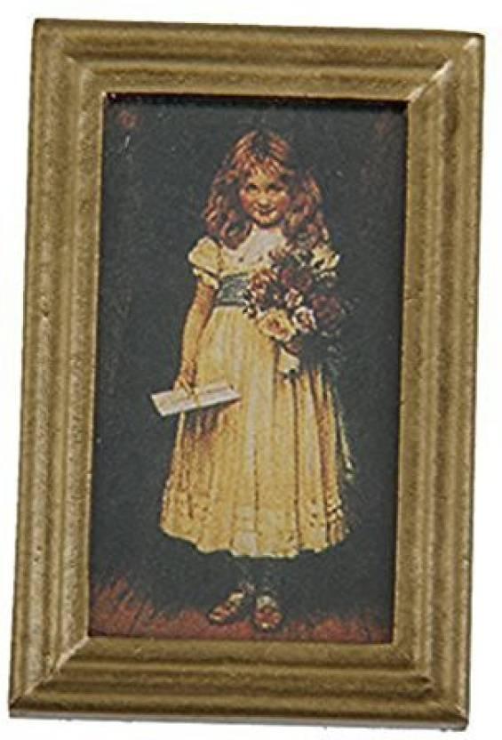 Iraintech 1:12 Dollhouse Girl With Flower Frame Mural Art