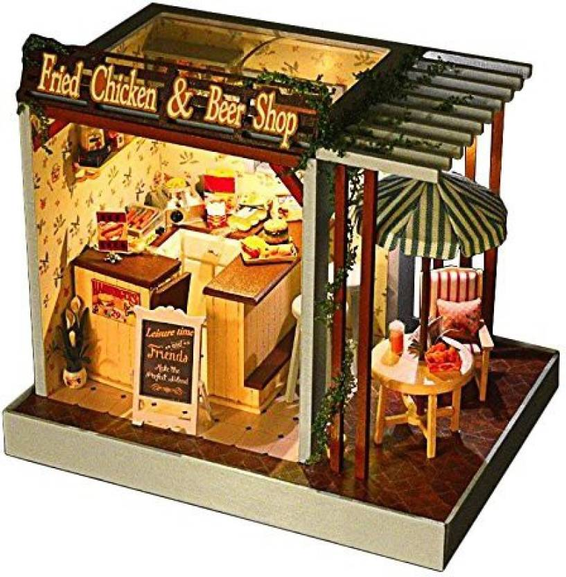 Generic Wooden Handmade Dollhouse Miniature Diy Kit Fried Chicken
