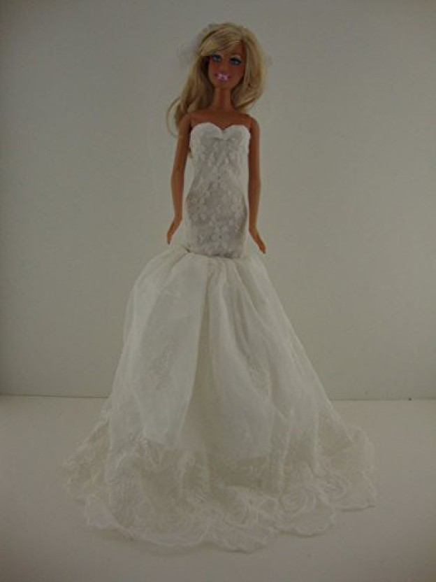 Elegant Bright White Wedding Gown with Veil Made to Fit Barbie Doll