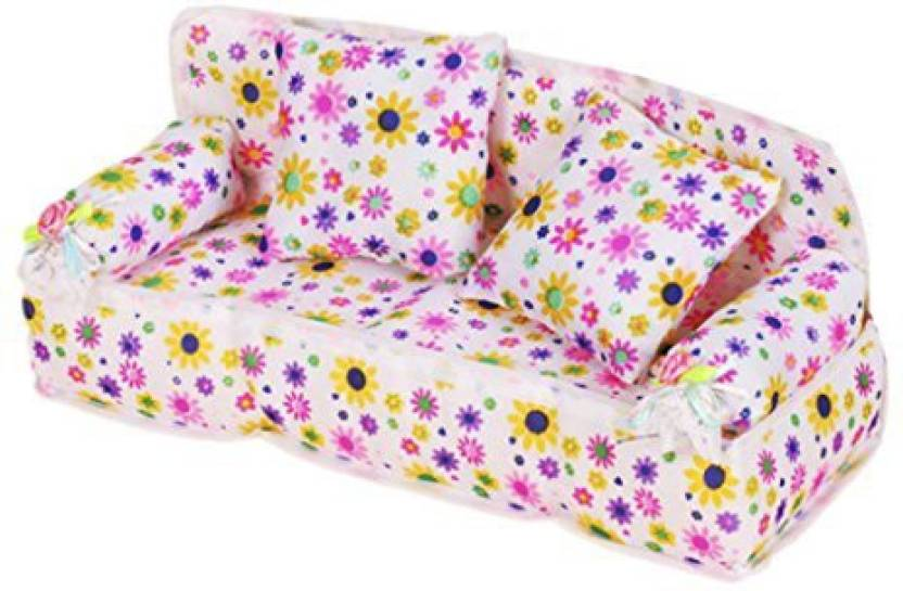 Monkeyjack 1/6 Furniture Floral Sofa Couch Cushions For Barbie Fashion Royalty Pullip Dolls (Multicolor)