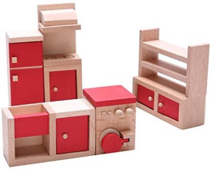Jili Online Set Of 5 Pieces Red Dollhouse Miniature Kitchen