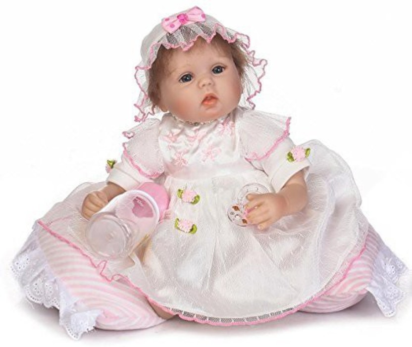 Reborn Silicone Doll Pretty Girl Baby Magnet Pacifier Mouth Vivid Vinyl Toys 17/""