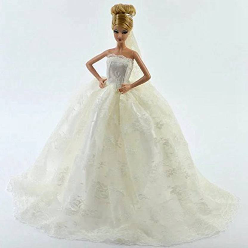 ab967776c46 Generic 1 Pcs White Classical Style Handmade Floor Length Wedding Gown With  Veil For Barbie Doll Clothes Shoes Doll House Accessories Ki (Multicolor)