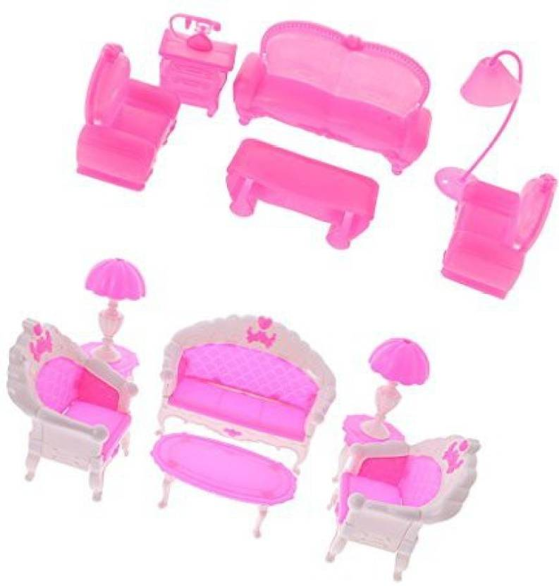 Dovewill Diy 12Pcs Living Room Furniture Set Parlour Sofa Couch Chair Lamp Coffee Tea Table Telephone Desk Set For Barbie Kelly Dolls Hou (Multicolor)
