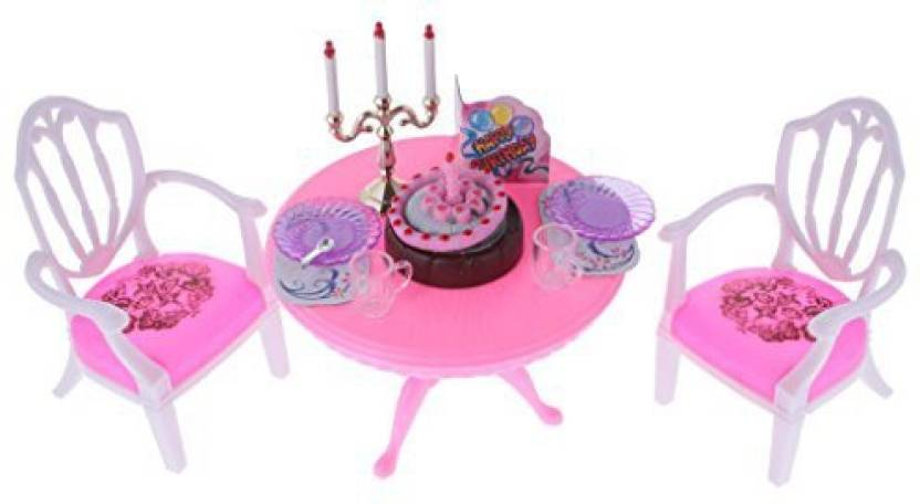 Magideal Dollhouse Furniture Dining Table Chair Birthday Cake Set
