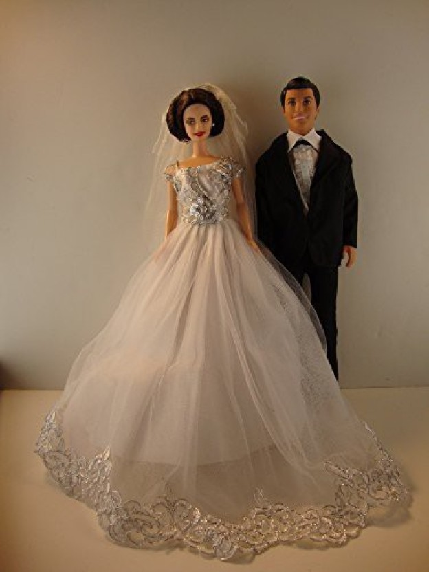 Great Long Silver Dress Made to Fit Barbie Doll