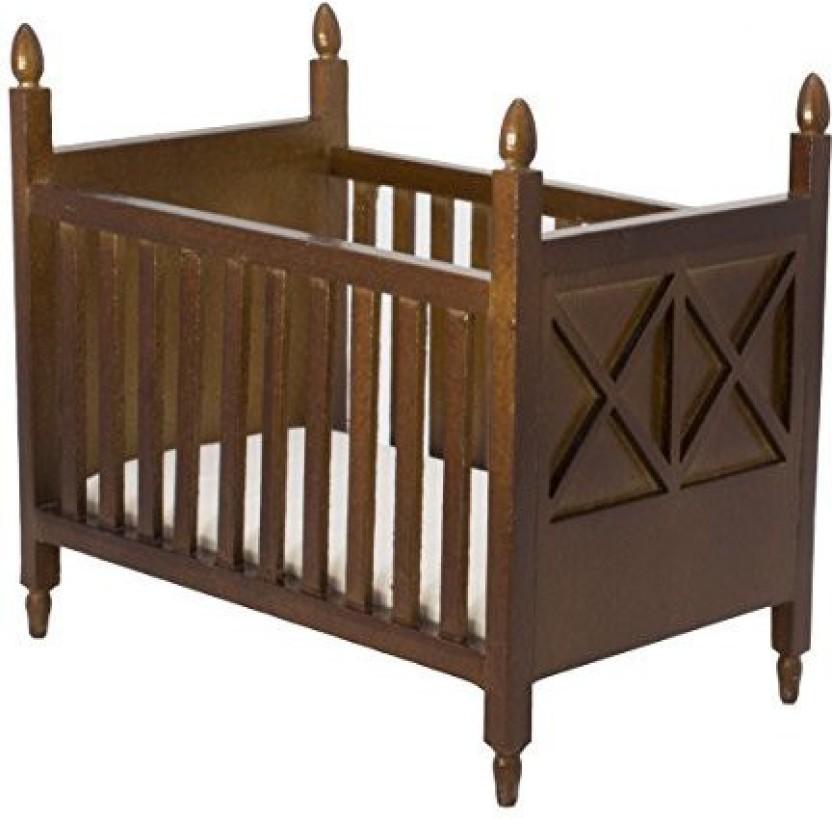 Inusitus Wooden Dollhouse Crib   Dolls House Furniture Bed Nursery   Black  Brown 1/12