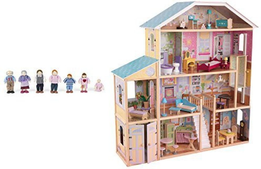 KidKraft Majestic Mansion Play Wooden Dollhouse With Furniture + Doll Family
