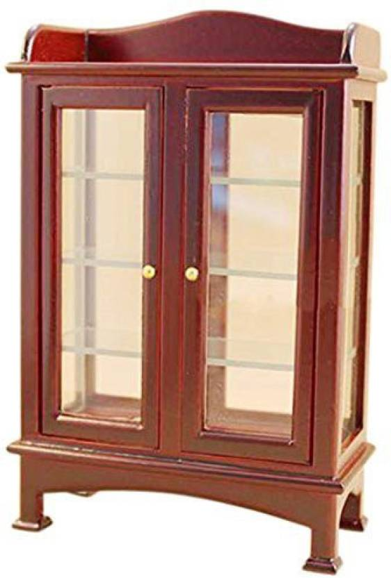 Iraintech Brown Living Room Wood Glass Display Cabinet ...
