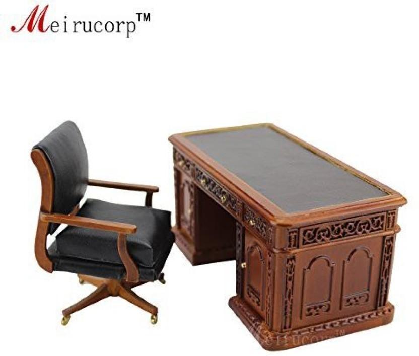 1:12 Dollhouse Miniature Wooden Piano w// Stool /& Computer Desk Chair Printer