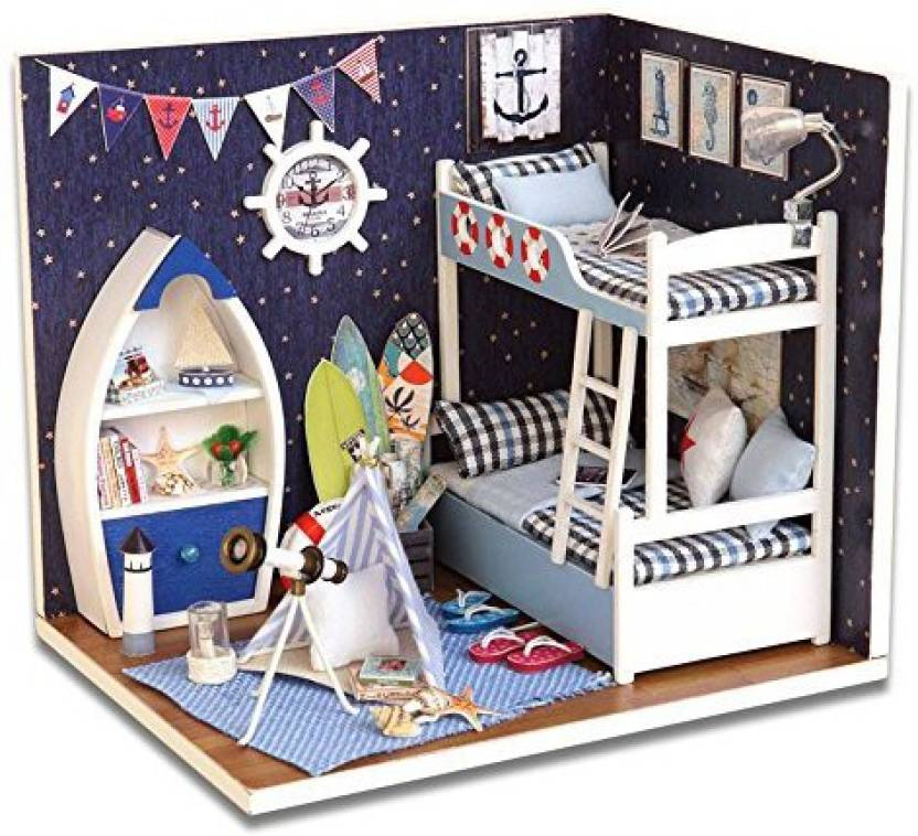 Fabulous Saumota Handmade Wooden Miniature Dollhouse Kit Bedroom Diy Download Free Architecture Designs Viewormadebymaigaardcom