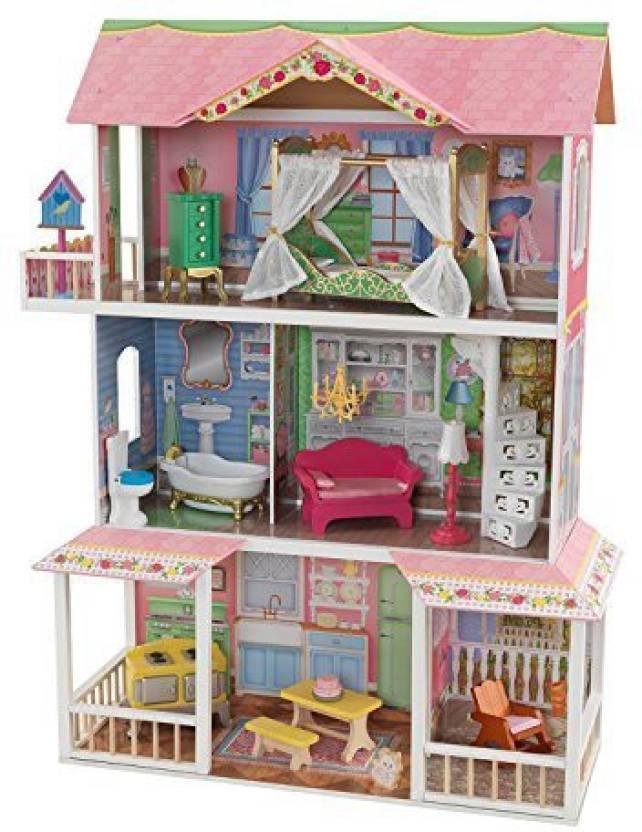 Kidkraft Sweet Savannah 3 Level Wooden Dollhouse With Furniture