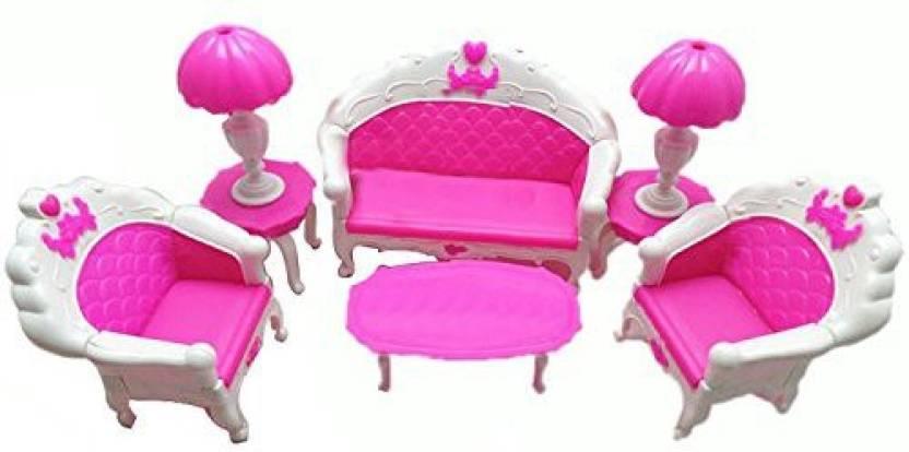 Mishiner 6 Pcs Plastic Mini Dollhouse Furniture Living Room Parlour Sofa Chair Couch Desk Lamp Set For Barbie Accessories (Multicolor)