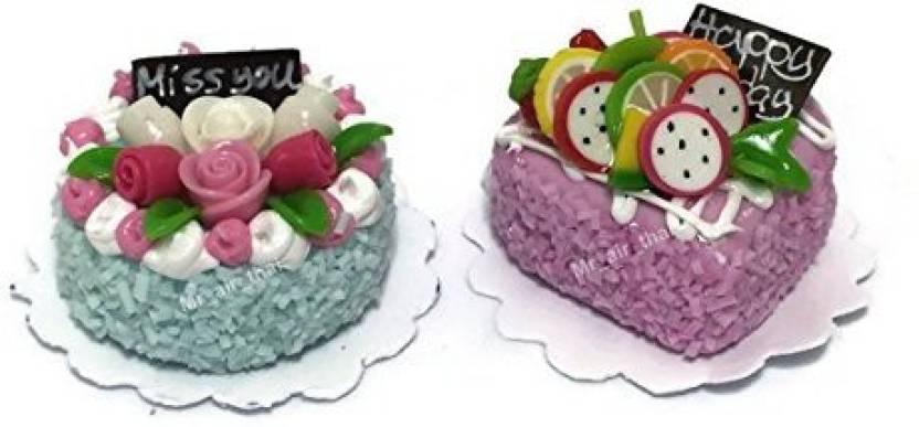 Mrairthaiminiature 2pc Miniature Wedding Cake Bakery Dollhouse Cake