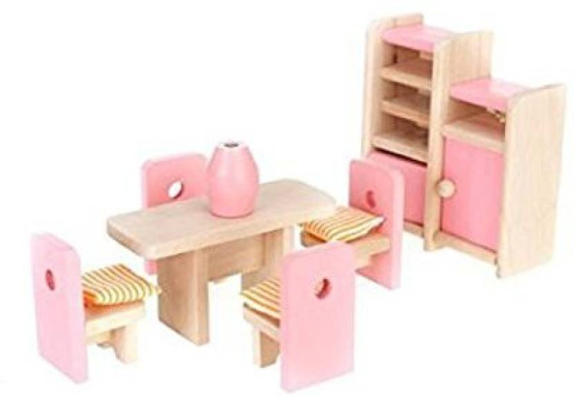 Generic Dollhouse Dining Room Wooden Furniture Set Table Chair
