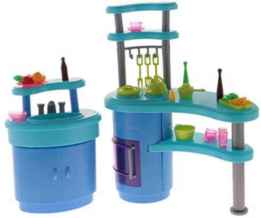 3864f62c5a38 Magideal Dollhouse Furniture Kitchen Playset Cooking Wares Tools For 1 6  Barbie Doll (Multicolor)