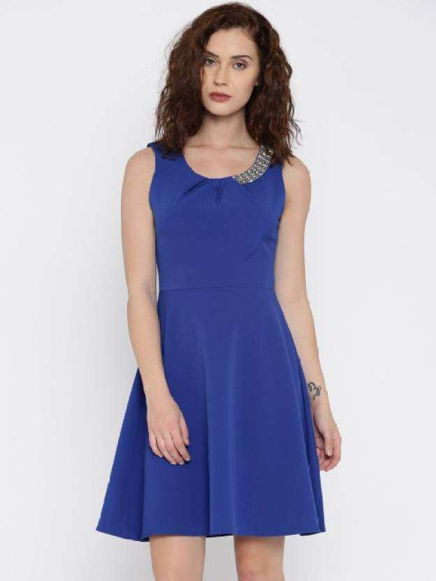 8522a08f752e Deal Jeans Women s Skater Blue Dress - Buy ROYAL BLUE Deal Jeans Women s  Skater Blue Dress Online at Best Prices in India