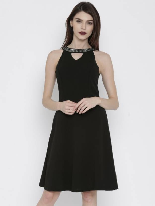 6d3de0a97b3a Deal Jeans Women s Skater Black Dress - Buy BLACK Deal Jeans Women s Skater  Black Dress Online at Best Prices in India