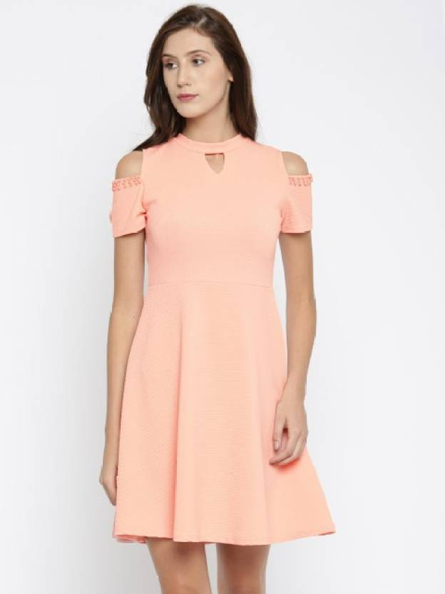 871b171180e3 Deal Jeans Women s Skater Pink Dress - Buy PEACH Deal Jeans Women s Skater  Pink Dress Online at Best Prices in India