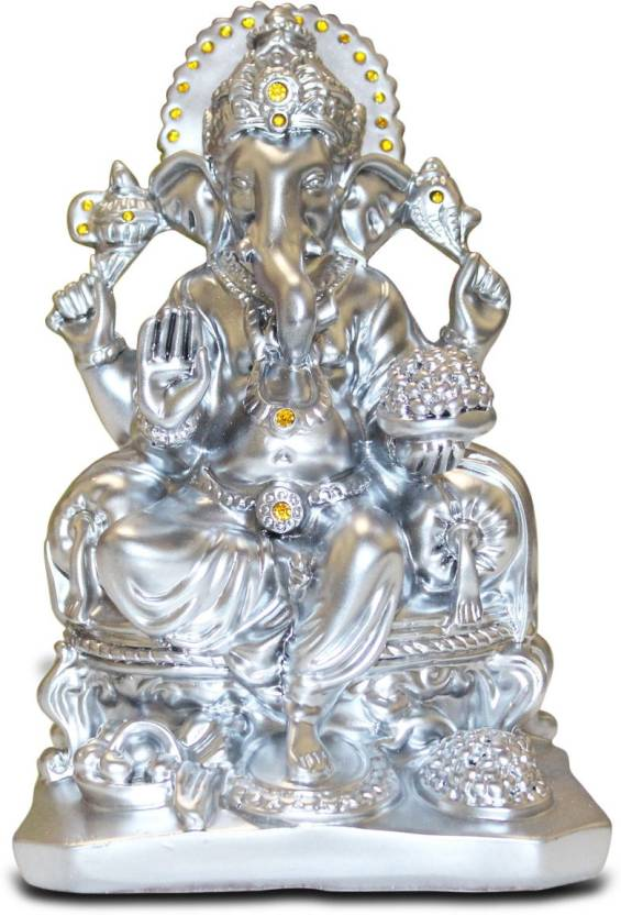 Akshat Ganesh Idol Murti Of Polyresin Lord Ganesha Silver Statue For Home And Office Decorative Showpiece 180 Cm Polyresin Silver