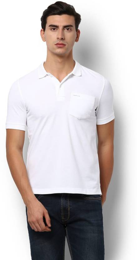 1cda84eb89b49 Van Heusen Solid Men Polo Neck White T-Shirt - Buy Van Heusen Solid Men Polo  Neck White T-Shirt Online at Best Prices in India