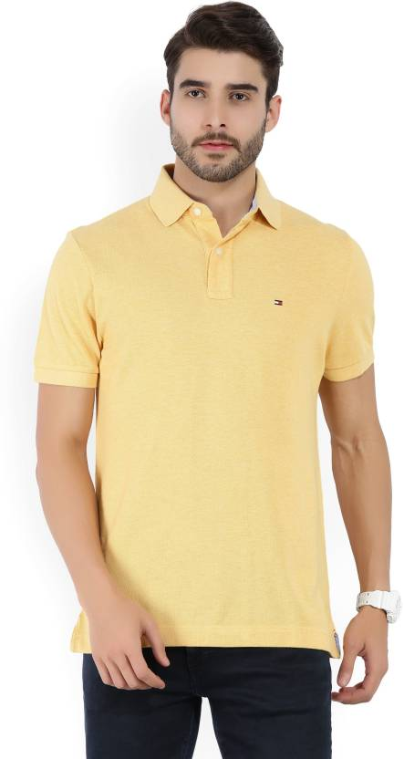 d59bc6357 Tommy Hilfiger Solid Men's Polo Neck Yellow T-Shirt - Buy Gold Tommy  Hilfiger Solid Men's Polo Neck Yellow T-Shirt Online at Best Prices in  India ...