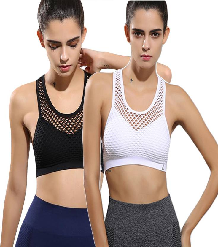 9d47f7ff200 GRAPPLE DEALS by Combo Of 2 Fashion Sexy Women Crop Top Cropped Padded Bra  Tops Vest Fitness Stretch Women s Tanks Mesh Hollow out Workout Bras For  Women ...