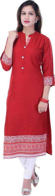Style N Shades Printed Womens Straight Kurta  (Red)